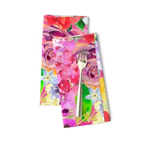 Pink Floral Hot Fabric Flowers Print Cotton Dinner Napkins by Roostery Set of 2