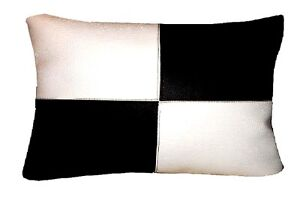 COUSSIN RECTANGULAIRE SIMILI CUIR Blanc/Noir 30x50cm   eBay