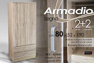 ARMADIO MODERNO IN LEGNO ROVERE 2 ANTE 2 CASSETTI 80*52*190 CM TCC ...