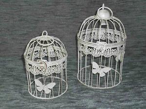 Antico Decorazione Gabbia per Uccelli 2er-Set IN Metallo Piante Fiori (99W)