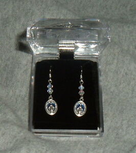 Image Is Loading Miraculous Medal Earrings 2 Crystals Surgical Steel French