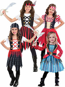 Children Kids Girls Pirate Blue Costume Book Week Caribbean Buccaneer Cute Dress