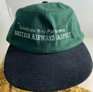 Vintage British Airways & Aspect Software Green cap hat w/ Black Visor - 1998