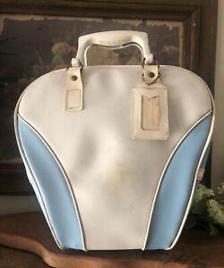 Vintage Bowling Bag Light Blue with White Trim
