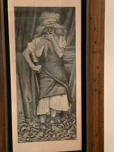 Antique Judaica Jewish Art Lithograph Wood Framed Glassed Free Shipping