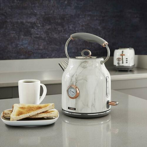 Tower White Marble & Gold Digital Microwave Bottega Kettle and 4 Slice Toaster