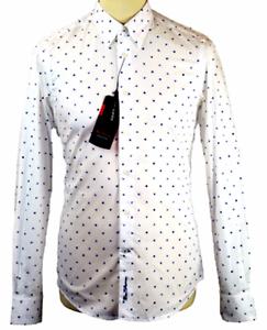 BEN SHERMAN Men Long Sleeve Print Cotton Shirt Colour  White MA00574