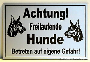 Klug Achtung Freilaufende Hunde,türschild,hinweisschild,gravur,12 X 8 Cm,warnschild Schilder & Plaketten