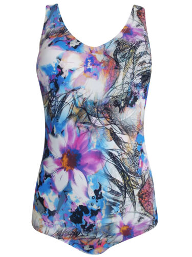 NATURANA LADIES SKETCH FLORAL LOW BACK SWIMSUIT SIZE 12 NEW ref 382