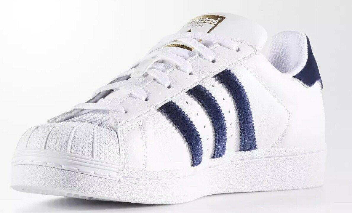 best sneakers 5ac13 f52ae ADIDAS ORIGINALS SUPERSTAR CASUAL SHOES SHOES SHOES TRAINERS WHITE BLUE  100% AUTHENTIC a68590