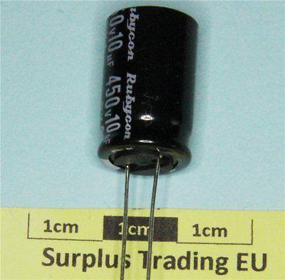 pacco da 2 Rubycon BXA radiale Condensatore Elettrolitico 10uF 450V 105C