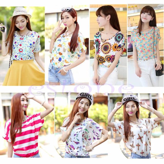 Casual Short Sleeve Heart Printed Chiffon T-shirt Tops Blouse Fashion Women Hot