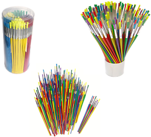 Tub-of-144-Coloured-Paint-Brushes-Childrens-Craft-Painting-School-Pack-598144