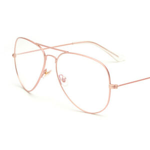 14e6d3b6ac2 Retro Aviator Eyeglasses Frame Clear Lens Metal Alloy Double Bridge ...