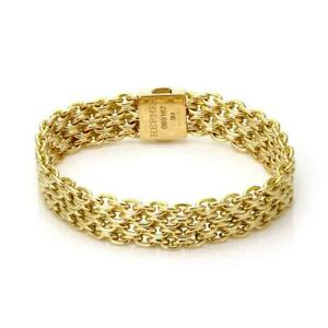 Details About Vintage Hermes 18k Yellow Gold 10 5mm Wide Mesh Chain Bracelet 5 75 Long