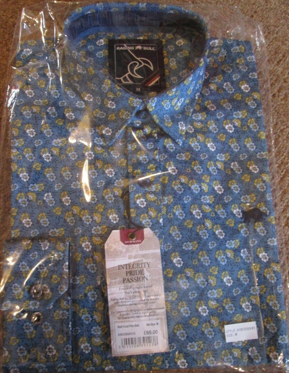 Raging Bull Mens Multi Floral Print Shirt - Mid bluee Size Medium   BNWT RRP