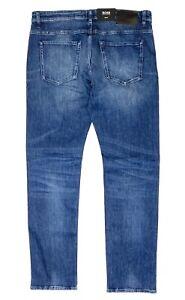 HUGO BOSS Mens Delaware Slim Fit Faded Wash Stretch Denim Jeans Blue (MSRP $178)