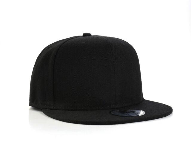 Plain Black Flat Peak Snapback Baseball Cap for sale online  30a1994ad25