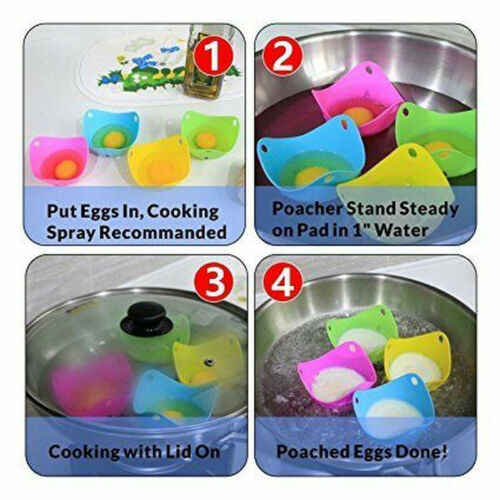 Silicone Egg Poacher Poaching Poach Cup Pods Mould Kitchen Baking Cookware TOOL