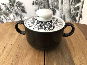 Vintage-Black-amp-White-Sugar-Bowl-Double-Handled-Flower-Design