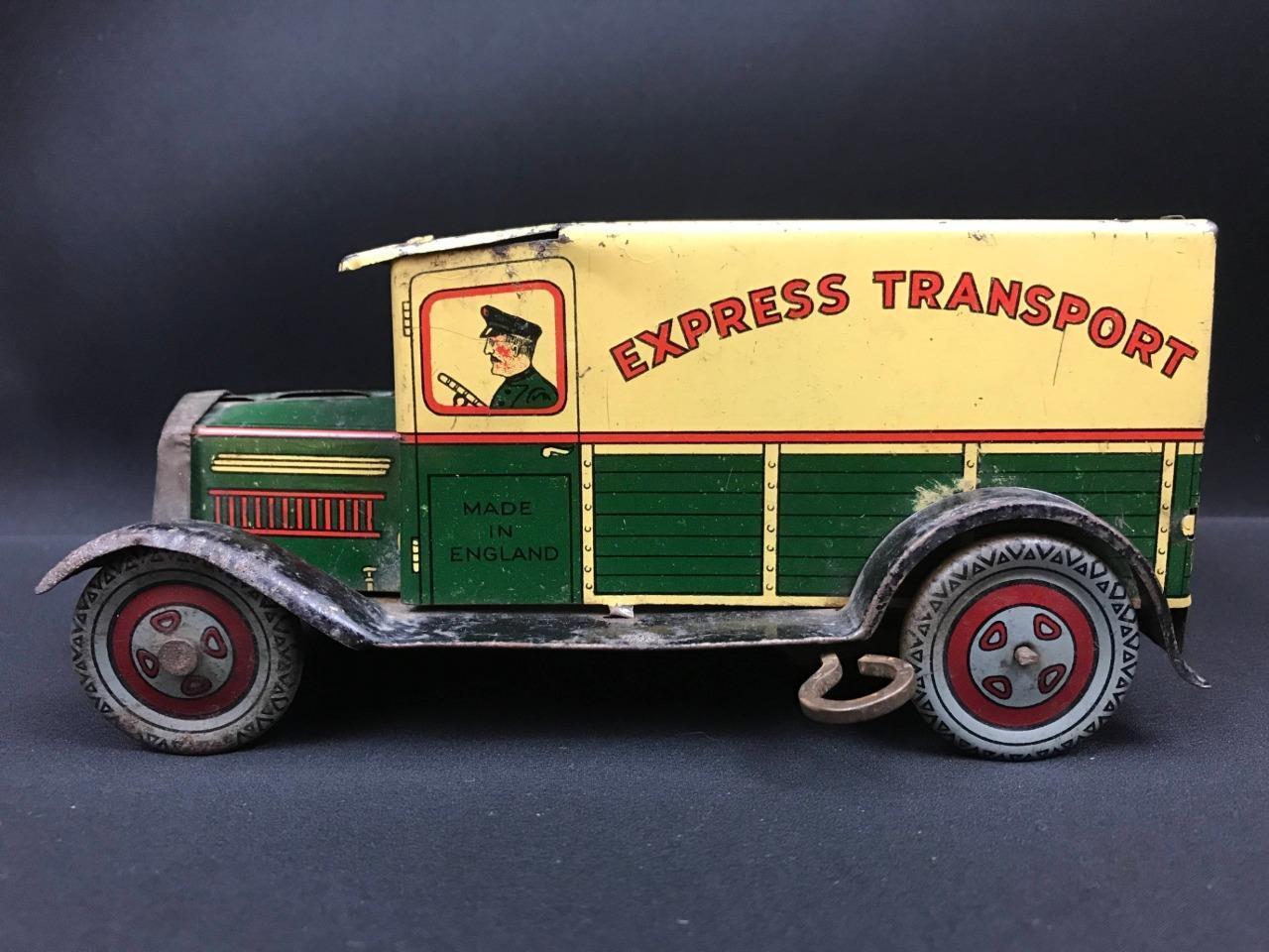 Wells BrimJuguete mecanismo de relojería entrega urgente Transporte De Juguete Hojalata van Vintage coche