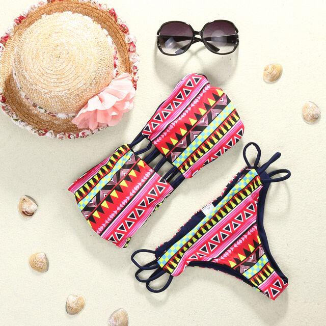 Sexy Women's Bandage Bikini Set Push-up Padded Bra Swimsuit Bathing Swimwear