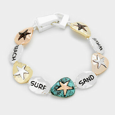 Starfish Tri Color Silver Gold Copper Charm Bracelet Magnetic Clasp US Seller