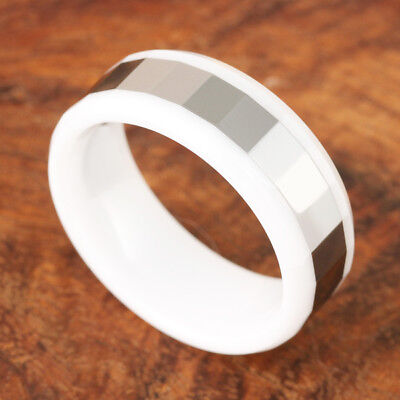 Black Ceramic Ring Wave Edge High Polish Finish 8mm TUR5035