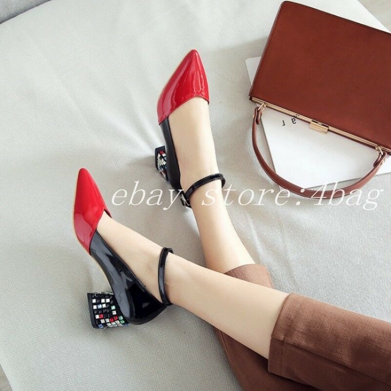 Women's Women's Women's Ankle Strap Mary Jane Patent Leather Mid Block Heels Pointy Toe shoes SZ d3fc86