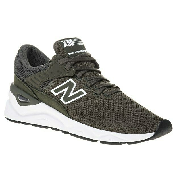 New Mens New Balance Green X90 Textile Trainers Retro Lace Up