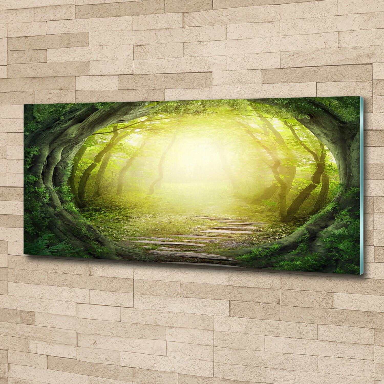 Wandbild aus Plexiglas® Druck auf Acryl 125x50 Blaumen & Pflanzen Baumallee