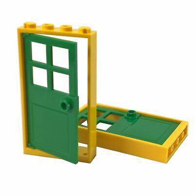 2 NEW LEGO Door Frame 1 x 4 x 6 Type 2 white with yellow door