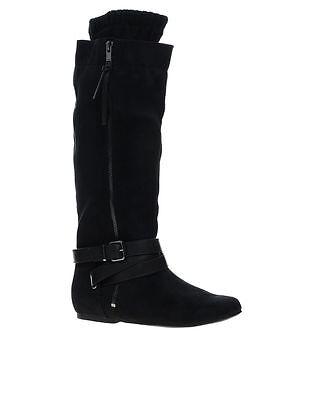 Señoras Aldo Floria Negro Textil de la rodilla Botas altas UK 4.5 EU 37.5 RRP sólo £ 25 Nuevo
