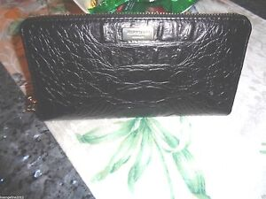 NWT-Kate-Spade-Neda-Rialto-Place-Croco-Embossed-Black-Leather-Wallet-GORGEOUS