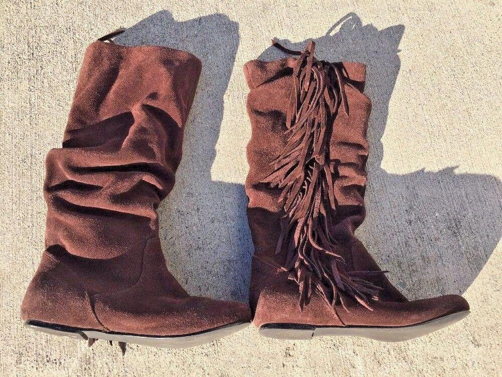 SALE @ STEVEN Leather Calf Hi Sexy Fringe Boots Steve Madden shoes Women Sz 7.5