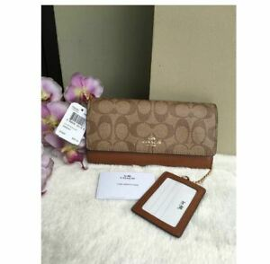 Authentic-Coach-Trifold-Wallet-In-Signature-F53763-Khaki