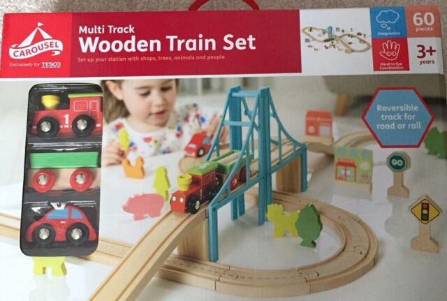 Carousel Wooden Train Set Multi City 60 Pieces Brio Compatible Railway Track