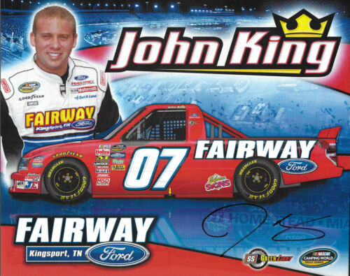 "SIGNED 2010 JOHN KING /""FAIRWAY FORD/"" #07 NASCAR TRUCK SERIES POSTCARD"