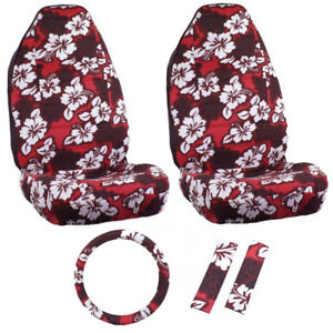 Red Hawaiian Hibiscus High Back buckets 5PC set front Seat Covers.