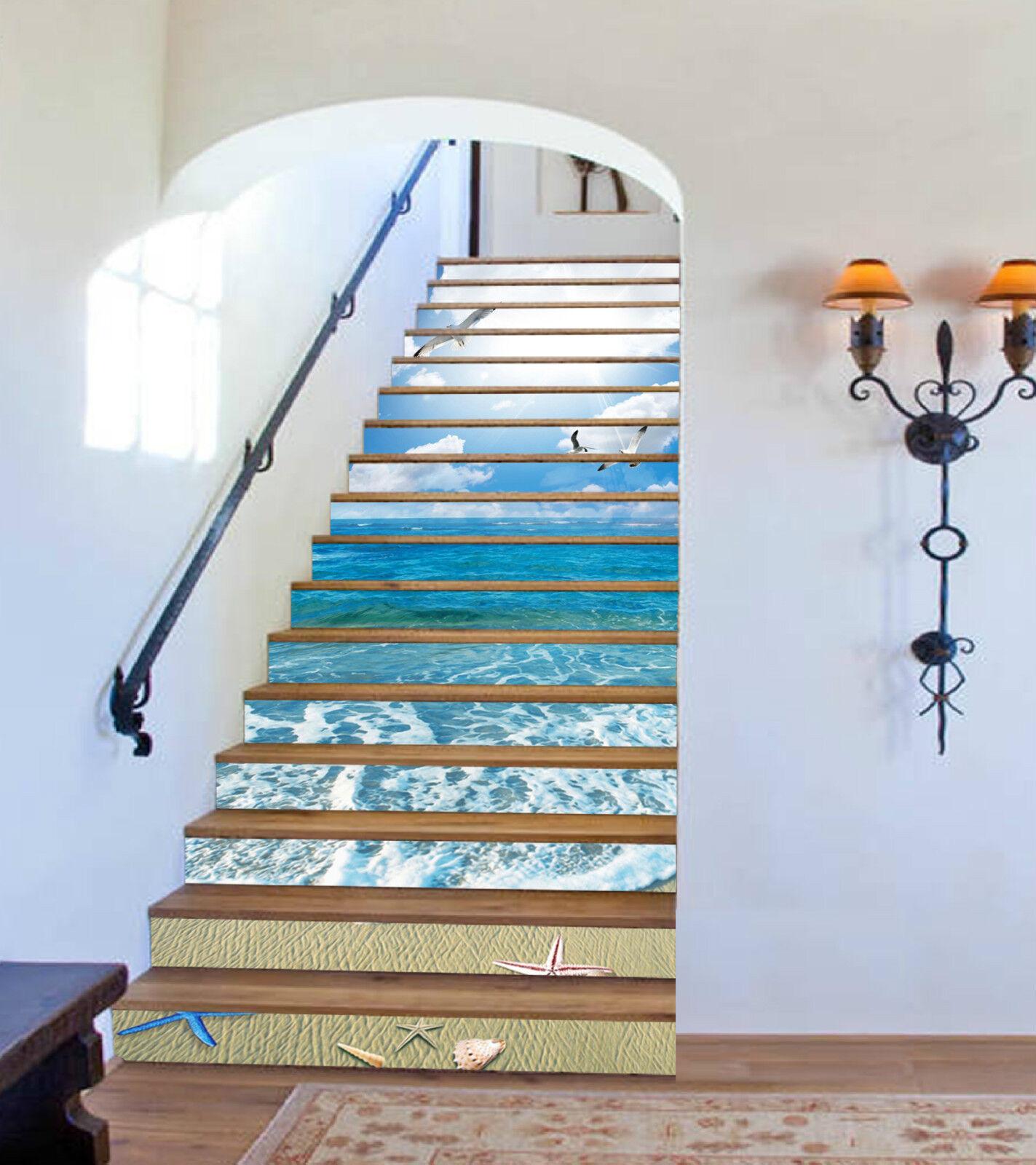 3D Meer Seevögel 13 Stair Risers Dekoration Fototapete Vinyl Aufkleber Tapete DE