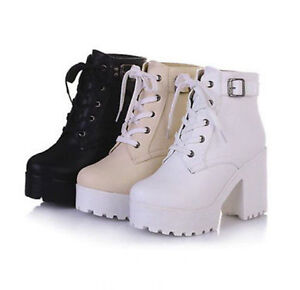 Womens-Platform-Lace-Up-Buckle-Strap-Punk-Block-Chunky-Heel-Ankle-Boot-Shoes-Sz