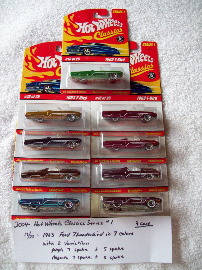 2004 Hot Wheel CLASSICS SERIES 1 13 25 1963 FORD T BIRD 9 Voiture Set en 7 Couleurs