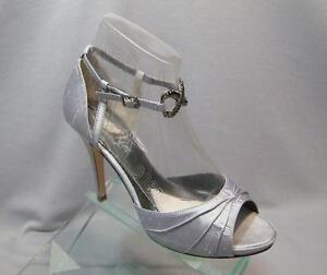 a574b2a8636 Jen   Kim Coloriffics Devote Silver Silk Ankle High Heel Bridal ...