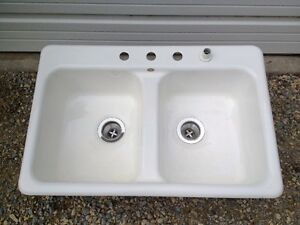 image is loading vintage cast iron porcelain sink eljer 100lbs double - Eljer Kitchen Sinks