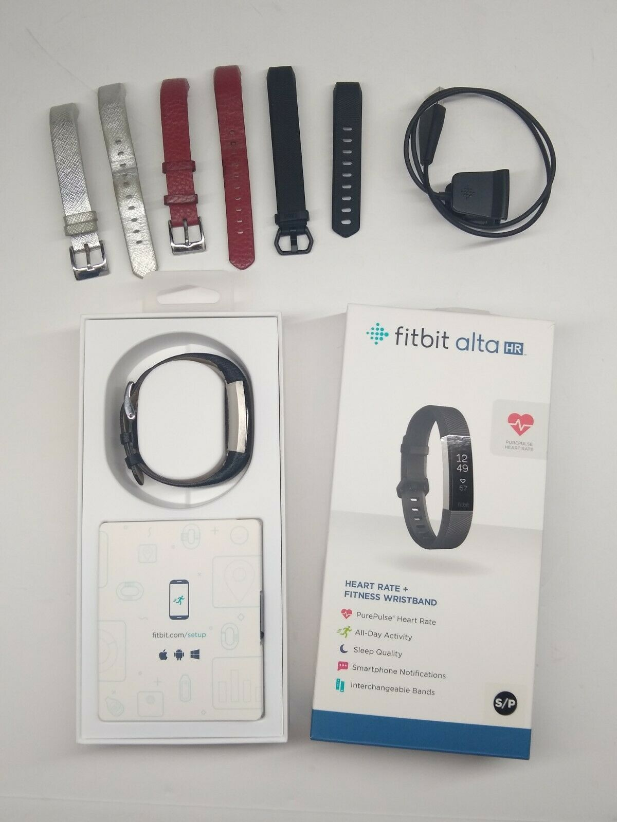 Fitbit Alta HR Activity Tracker + Heart Rate (Small) - Black with 3 Extra Bands