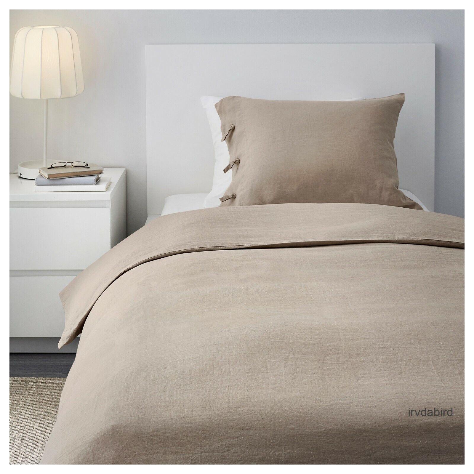 Nouveau Ikea linblomma 100% lin Parure de lit naturel Beige Twin