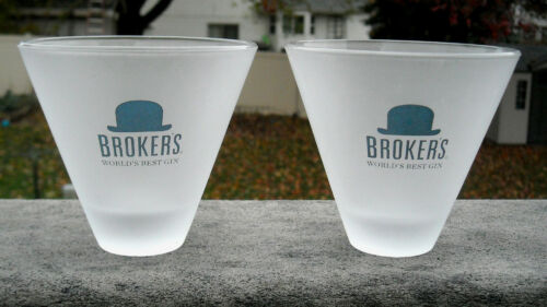2 New Brokers Worlds best Gin Stemless Martini Glasses frosted