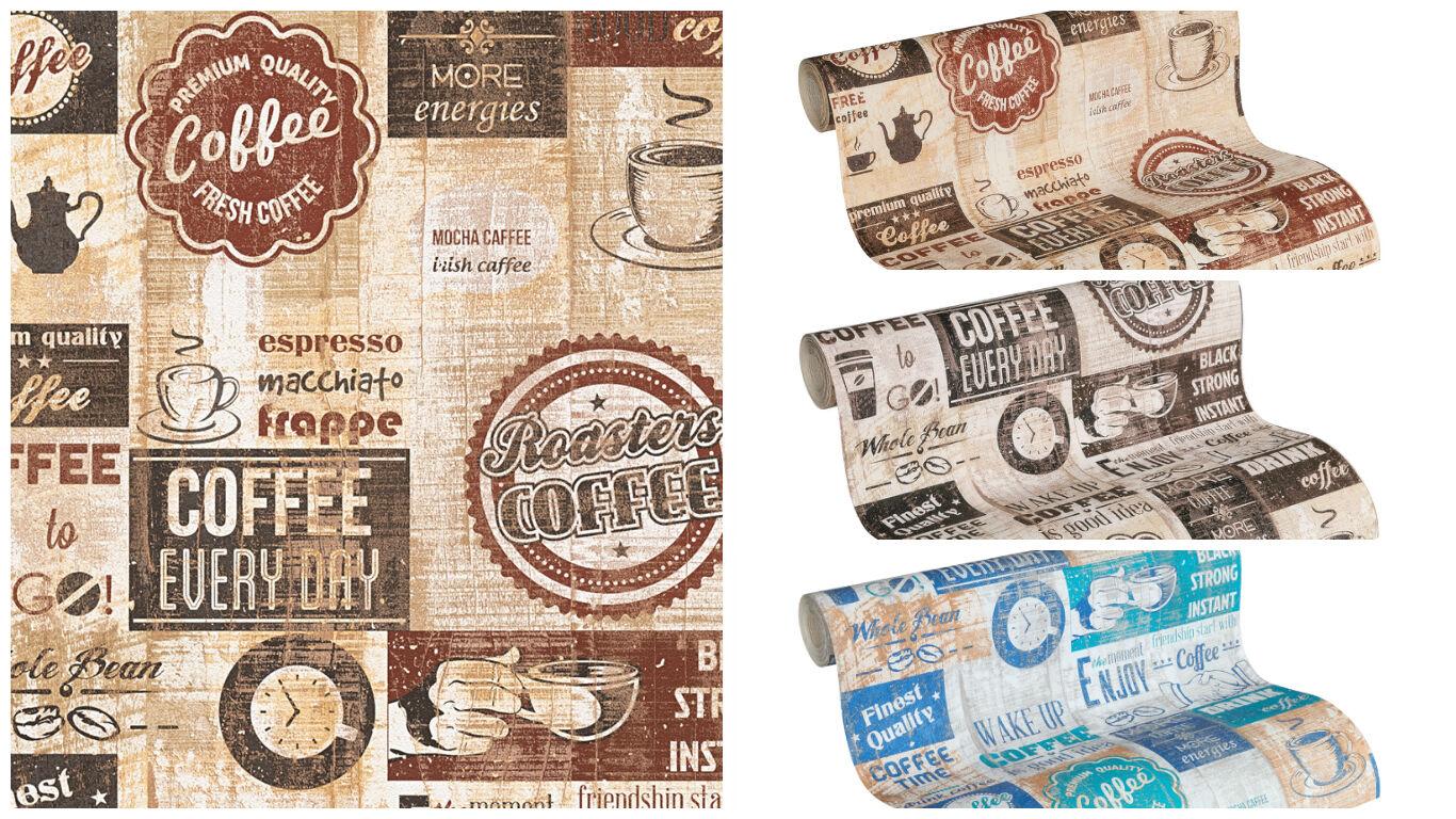Papier Kuchen Tapete Kaffe Coffee Cafe Creme Beige Terra Braun Weiss