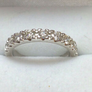 0-75-Ct-Natural-Diamond-Wedding-Eternity-Band-14K-Solid-White-Gold-Size-K-L-M-N