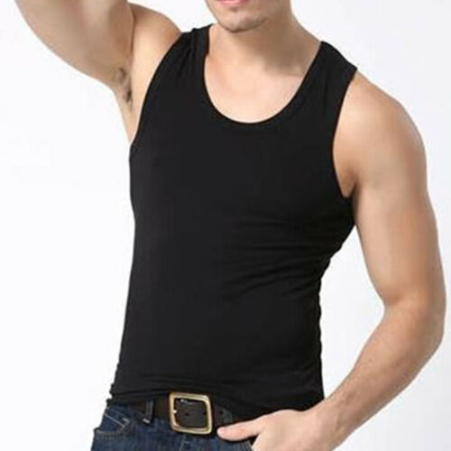 Men Sleeveless Vest Casual Cotton Sports Tank Tops Shirt Slim Fit Summer Solid